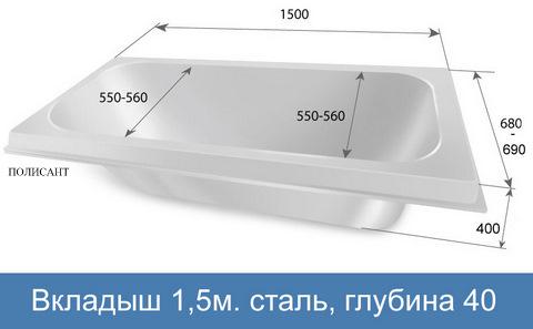 150х40х55 стальная ванна