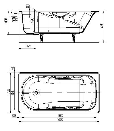 Ванна чугунная 150х75 «Сибирячка»