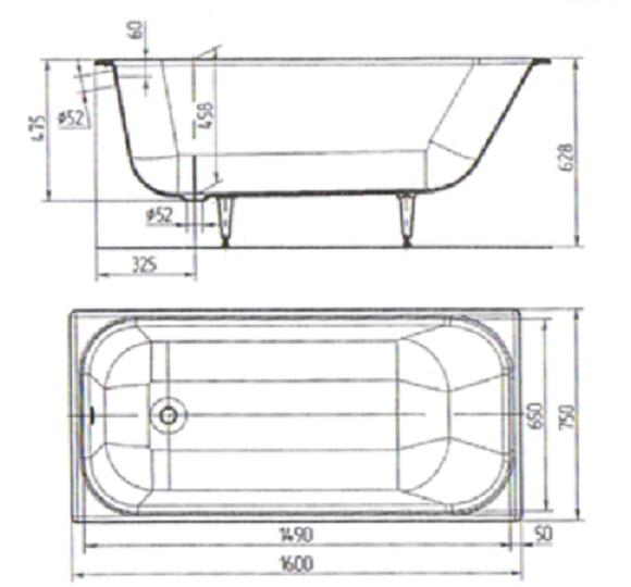 схема чугунная ванна ностальжи 160х75
